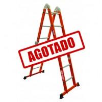 ESCALERA MULTIPOSICIONES ACERO 3E S/ CHAROLAS NARANJA---Mod. 333614